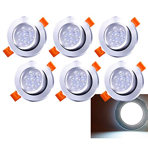 Hengda Paquete de 6 7W LED Empotrable de techo giratorio blanco frío 560lm Downlights 3200K Foco para sala de estar Dormitorio Cocina Baño (equivalente a 60W)