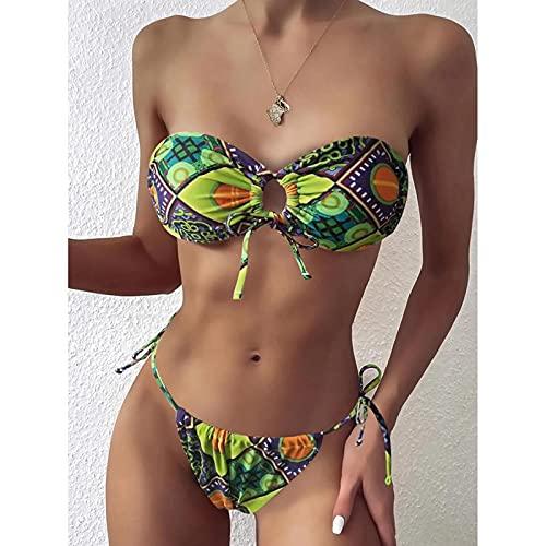 Traje de baño Sexy Bikini Bandeau Traje De Baño Mujer Traje De Baño Mujeres Mini Tanga Bikinis Set Bañista Natación Ropa De Playa para Mujer Traje De Baño S Verde