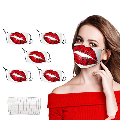 SUMLLARY 5PCS Romantic Face_Mask Rose Red Lip Pattern Print with 10 filters Washable Reusable for Adult Men Women, Adjustable Ear Loops for Running Cycling Outdoor Activities (5msaks+10filters, A)