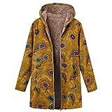 Logobeing Chaqueta Abrigos Mujer Invierno Rebajas Talla Grande Elegantes Suéter Abrigo de Lana con Capucha y Estampado éTnico con Cremallera Vintage Coat (S, Amarillo)