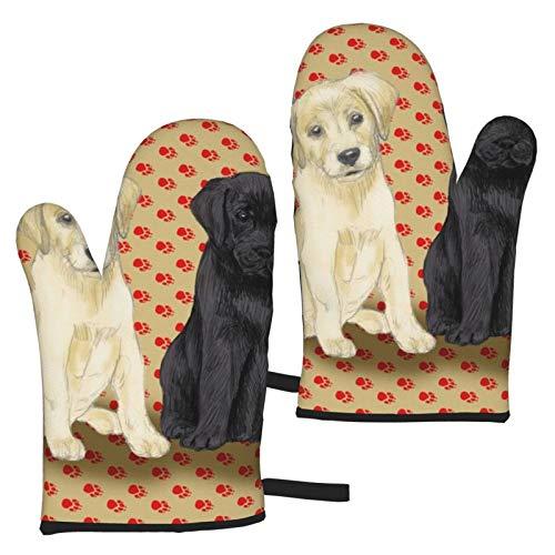 Zeyustge Cachorros de Labrador Retriever Sentado para Almohadas, Guantes de Horno Resistentes al Calor y Porta ollas, Forro de algodón Suave