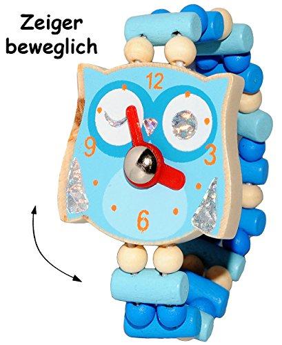 alles-meine.de GmbH 1 Stück _ Armbanduhr / Kinderuhr -  lustige Eule - blau  - aus Holz - bewegliche Zeiger ! - Lernuhr mit Armband - Uhr für Kinder - Mädchen & Jungen - Holzar..
