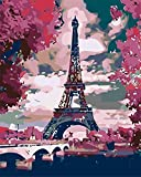 ZDXFG DIY Oil Paint by Number Kit,Painting Paintworks Wall Art Picture Drawing with Brushes Christmas Decor Decorations Gifts,Tower scenery-smt1517(with Frame)