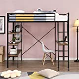 Metal Twin Loft Bed , Loft Bed with Desk ,Kids Loft Bed with Storage Shelves and Angled Ladder , Heavy Duty Metal Loft Bed , No Box Spring Needed (Black with Shelves )