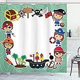 ABAKUHAUS Party Duschvorhang, Piraten Kinder Schiff, mit 12 Ringe Set Wasserdicht Stielvoll Modern Farbfest & Schimmel Resistent, 175x240 cm, Mehrfarbig