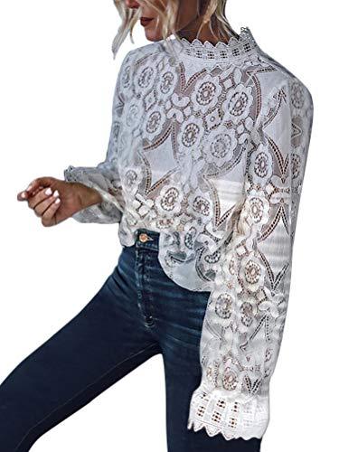 Minetom Femmes Sexy Dentelle Tops Blouse T-Shirt Tunique Chemisier à Manches Longues Hauts Elégant Chic Slim Tee Shirts Blanc FR 40