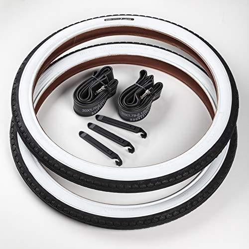 CST 2X Weißwand Reifen 20 Zoll + 2 DV/Dunlop (Blitz-Ventil) Schläuche | 20 x 1.75 | 47-406 Schwarz - Weiß Decke Mantel Cruiser Klapprad