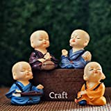 Lvi Craft Set of 4 Baby Hat Monk Buddha Laughing Statue for Home
