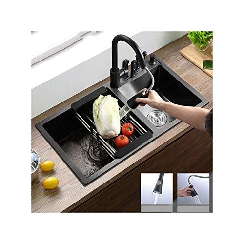 zhanMa Fregadero teka Fregadero De Doble Cubeta De Cocina con Grifo Extraíble, Lavabo Nano Negro De Acero Inoxidable De 750 Mm De 304 Mm X 400 Mm ERYωορκτο-12-012-L