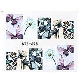 JSIYU Nail Stickers Belleza Completa Nail Art Sticker Flower Water Transfers Decals Fancy Pattern Watermark Slider Decoración C-Y03