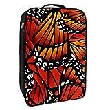 Caja de almacenamiento para zapatos de viaje y uso diario, diseño de alas de mariposa, color naranja, portátil, resistente al agua, hasta 12 yardas, con doble cremallera y 4 bolsillos