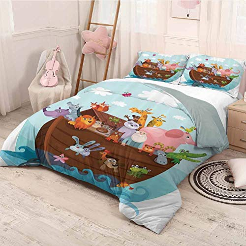 HELLOLEON Noahs Ark Decor Collection 3-Pack (1 Duvet Cover and 2 Pillowcases) Bedding Two of Every Living in Noahs Ark Ancient Architecture Humorously Designed Art Image Polyester (King) Blue Pink