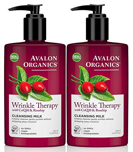 Avalon Organics Wrinkle Therapy CoQ10 Cleansing Milk, 8.50 oz (Pack of 2)