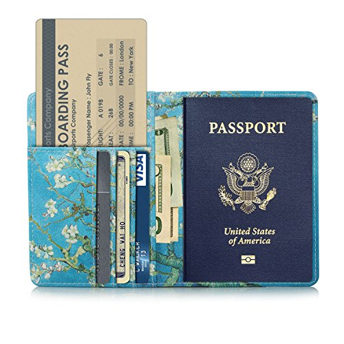 EpicGadget RFID Blocking Premium Leather Passport Holder Travel Wallet Cover Case (Cherry Blossom)