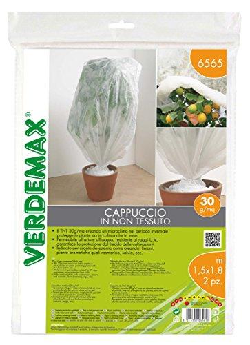 VERDEMAX 6565 - Cappellino in Tessuto Non Tessuto, 30 g/mq, 1,5 x 1,8 m, 2 Pezzi, Colore: Bianco