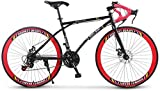 -Mango curvo de velocidad variable carretera coche de carreras camino de la bicicleta, de 21 velocidades de 26 pulgadas, bicicletas de doble disco de freno, marco de acero al carbono de alta, los homb
