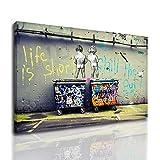 Banksy Graffiti Art Pintura de pared Arte callejero Impresión infantil sobre lienzo Cuadro de lienzo...