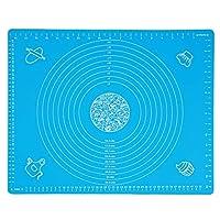 キッチンヘルパーキッチン厚みのあるシリコンローリング生地パッドベーキングマットスケール付きDIYベーキングツール(青い)