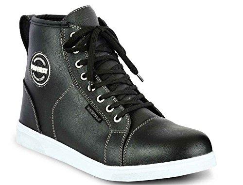 Profirst Global Motorradfahrer Schuhe Motorrad Leder CE Rüstung Boot - Herren Wasserdichte Sneaker Fashion Schuhe für Herren Jungen - 13 / EU 47 Schwarz
