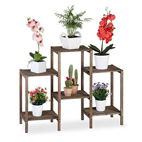 Relaxdays Fleurs, Design Simple-Chic, pour l'intérieur, Salon et Cuisine, étagère à Plantes, Taille M, Marron, Bois, 70 x 89 x 27 cm