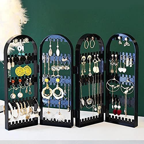 Organizador de caja de joyería grande de plástico, caja de almacenamiento de 4 ventiladores, collar, pendientes, anillo, espejo, pantalla, soporte para joya de escritorio-3