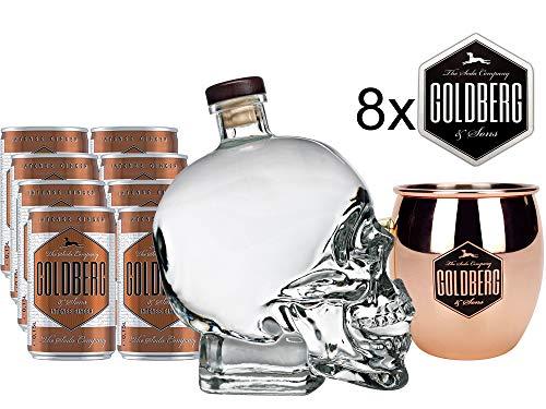 Moscow Mule Set - Crystal Head Vodka 0,7l 700ml (40% Vol) + 2x Mule Becher + 8x Goldberg Intense Ginger je 0,15l = 1,2l inkl. Pfand EINWEG + 8x Goldberg Untersetzer mit Rezept- [Enthält Sulfite]