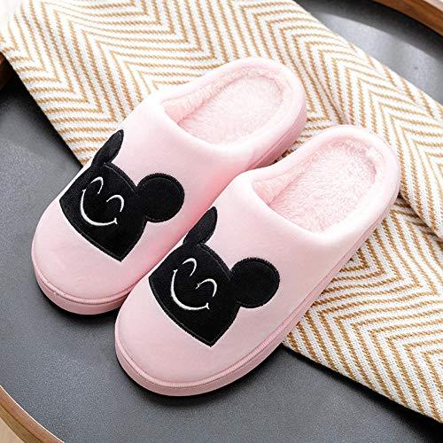 Nwarmsouth Slippers Unisex-Adulto,Inicio Zapatos de algodón de Fondo Suave, Pantuflas de Felpa Antideslizantes-Rosa_40-41,Zapatillas Antideslizantes Comfort para Hombres y Mujeres