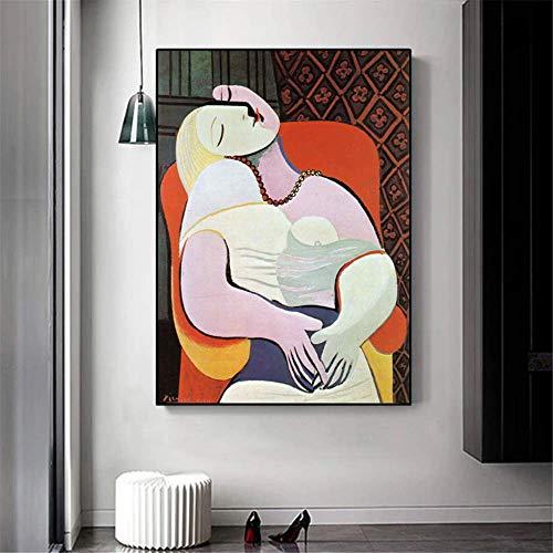 CAPTIVATE HEART Stampa su Tela 40x60cm Senza Cornice Picasso The Dream Quadri Famosi Riproduzione Quadri Picasso Immagini per la Decorazione della Parete di casa