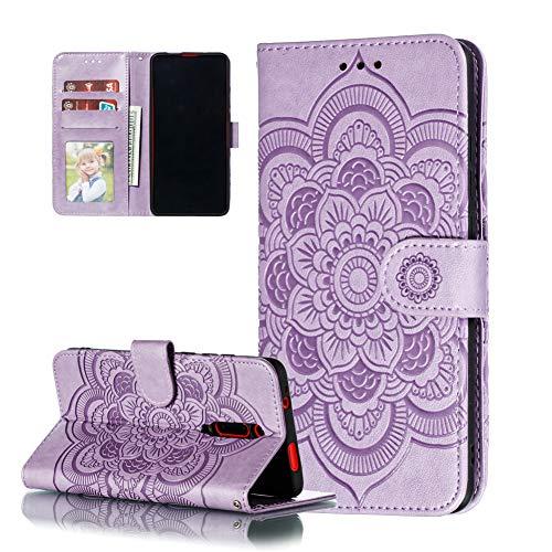 COTDINFOR Etui für Motorola Moto E6 Plus Hülle PU Leder Cover Schutzhülle Magnet Tasche Flip Handytasche im Bookstyle Stand Kartenfächer Lederhülle für Motorola Moto E6 Plus Light Purple Mandala LD.