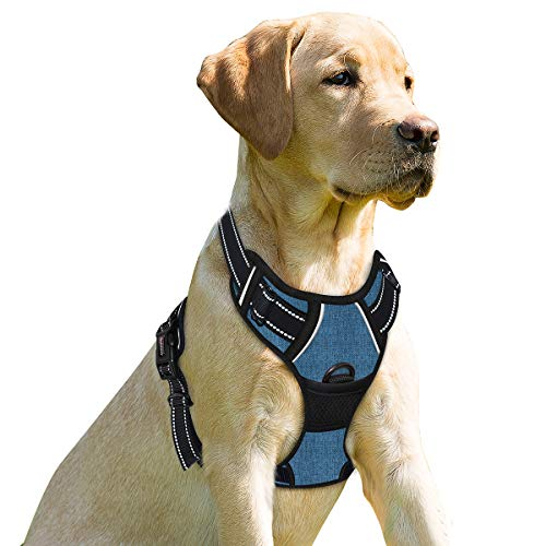 BARKBAY No Pull Dog Harness Front Clip Heavy Duty Reflective Easy Control Handle for Large Dog Walking(Dark Blue,M)