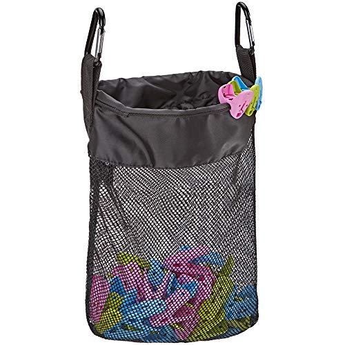 NICOGENA Mesh Clothespin Bag, Storage Organizer with Hook, Clothes Pins Bag Holder, Black