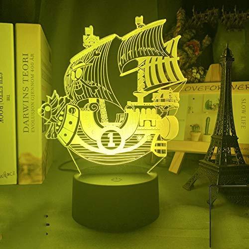 lenzuola one piece Anime ONE PIECE Kids Night Light Thousand Sunny Ship Model per camera da letto Decor Light Cool for Child Lampada da tavolo regalo 3d-7 colori senza telecomando