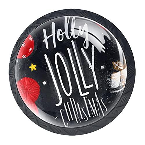 Perillas del gabinete 4pcs Tiradores vidrio cristal,Letras de carteles Holly Jolly Navidad dibujo en estilo vintage en la pizarra ,para puerta mueble abierta o cajón