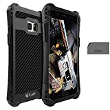 R-JUST Case for Samsung Galaxy Note FE Extreme Aluminum Premium Shockproof/Dustproof/Non-slip Cell Phone Casing Cover Protection System with Durable Glass Film (Black/Black)