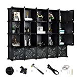 Greenstell Cube Storage Organizer, Plastic Closet Organizer with Doors, 20-Cube DIY Storage Cubes Organizer, Modular Storage Cabinet Book Shelf Shelving for Bedroom, Living Room, Office Black