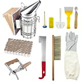 WAENLIR 11Pcs Beekeeping Tools/Supplies Kit Bee Hive Smoker,Bee Brsuh...