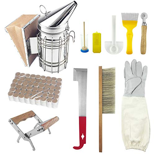 WAENLIR 11Pcs Beekeeping Tools/Supplies Kit Bee Hive Smoker,Bee Brsuh Beekeeping Accessory for Beekeeping Starter – Honey Uncapping.
