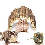 Pont de Hamster en Bois échelle Pont Petit Animal cachette rongeurs mâcher Jouet Cage pour Animaux de Compagnie décoration pour Cochon d'Inde Chinchilla Furet Reptile(M)