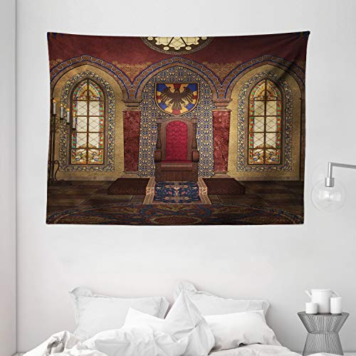 Ambesonne Dark Tapestry Gothic House Decor, Red Medieval Throne in Chapel Eagle Portrait on Wall Ancient Fantasy Building Print, Wall Hanging for Bedroom Living Room Dorm, 80 W X 60 L, Brown Ruby