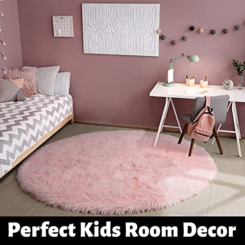 Pink Round Rug for Girls Bedroom,Fluffy Circle Rug 5'X5′ for Kids Room,Furry Carpet for Teen Girls Room,Shaggy Circular Rug for Nursery Room,Fuzzy Plush Rug for Dorm,Cute Room Decor for Baby