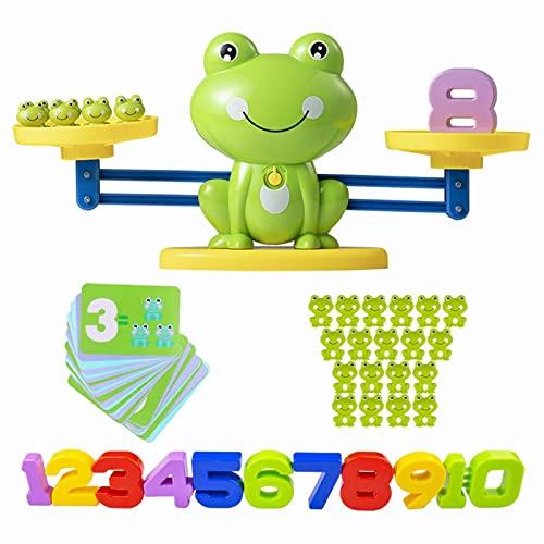 Kwangchow Juegos Matematicos Balanza para Niños, Equilibrar Rana Animal Juguete Montessori con Numer Tarjeta, Number y Matemáticas Aprendizaje Juguetes Educativos para Niños y Niñas