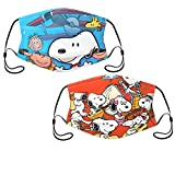 Aotbuort Anime Face Covers for Boys Girls Cartoon Face Covering Adjustable Washable Mouth Coverings with 2 Filters 2 Pcs