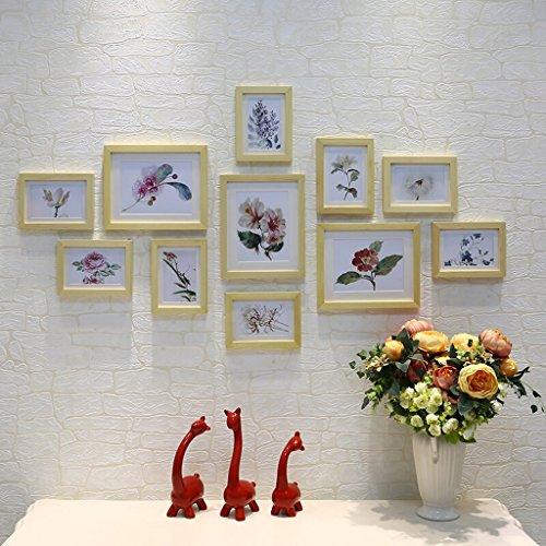 11 boîte combinaison photo cadre en bois massif mur photo simple, salon Creative chambre photo cadre ensemble mur photo cadre, rose, couleur en bois naturel (Color : Natural wood)