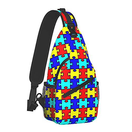 Autism Jigsaw Puzzle Craft Sling Backpack, Travel Hiking Daypack Casual Crossbody Shoulder Chest Bag For Men Women
