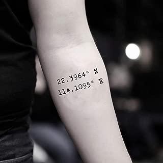 Custom Coordinates Temporary Fake Tattoo Sticker (Set of 2) - www.ohmytat.com