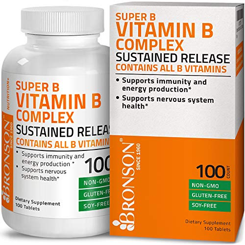Bronson Super B Vitamin B Complex Sustained Slow Release (Vitamin B1, B2, B3, B6, B9 - Folic Acid, B12) Contains All B Vitamins 100 Tablets
