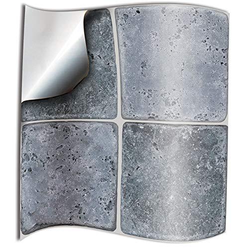 24x piedra gery Lámina impresa 2d PEGATINAS lisas para pegar sobre azulejos cuadrados de 15cm en cocina, baños – resistentes al agua y aceite