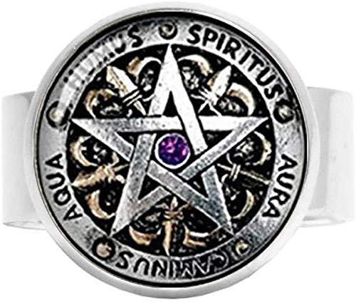 Wiccan Pentagramm-Schutzschmuck, schwarzer Magik-, heidnischen Pentagrammschmuck, Charm-Ring, Vintage-Kunst, Fotoschmuck