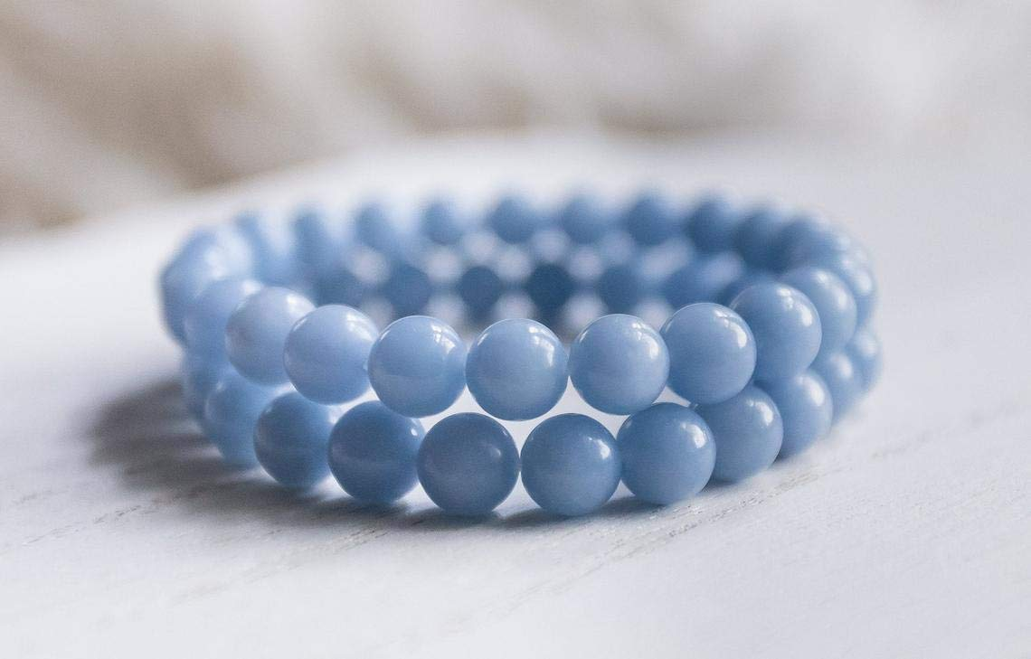 Shree Narayani Round Special Manufacturer OFFicial shop Campaign Beads Natural Bracelet Angelite 8mm Stretch