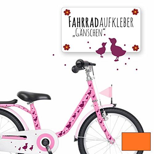 ilka parey wandtattoo-welt® Fahrradaufkleber Fahrradsticker Aufkleber Sticker Fahrraddeko Gänse Entchen mit Punkten M1889 - ausgewählte Farbe: *orange*